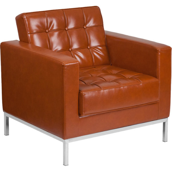 Flash Furniture ZB-LACEY-831-2-CHAIR-COG-GG Hercules Lacey Cognac Contemporary Leather Chair with Stainless Steel Frame Main Image 1