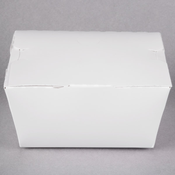 Southern Champion 0741 4 3/8 inch x 3 1/2 inch x 2 1/2 inch ChampPak Classic White Customizable Microwavable Paper #1 Take-Out Container - 450/Case