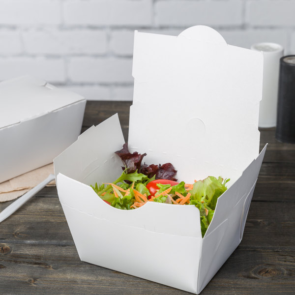 """Southern Champion 0741 4 3/8"""" x 3 1/2"""" x 2 1/2"""" ChampPak Classic White Customizable Microwavable Paper #1 Take-Out Container - 450/Case"""