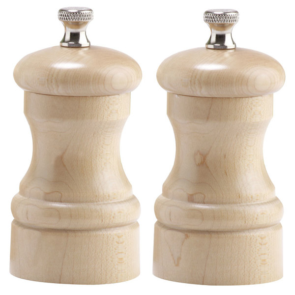 """Chef Specialties 04302 Professional Series 4"""" Customizable Capstan Natural Maple Pepper Mill and Salt Mill Set"""