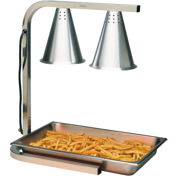 Carlisle HL7237PS00 Aluminum 2 Bulb Free Standing Heat Lamp with Pan and Screen - 110/120V, 500W