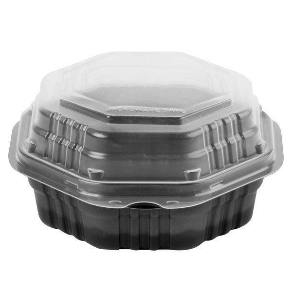 Dart Solo 806011-PP94 Creative Carryouts OctaView Supreme 6 inch x 6 inch x 3 inch Black Microwaveable Plastic Hinged Take-Out Container  - 200/Case