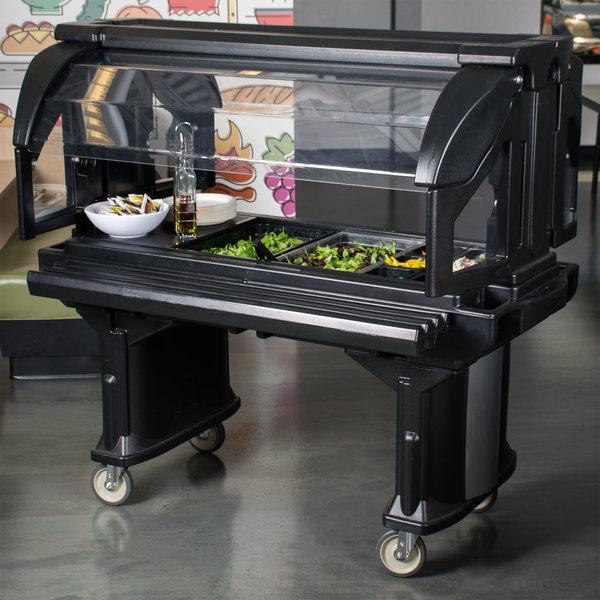 Cambro VBR5110 Black 5' Versa Food / Salad Bar with Standard Casters Main Image 6