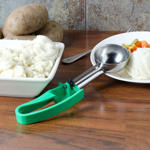 Vollrath 47373 Green #12 Extended Length Squeeze Disher Portion Scoop - 2.8 oz.