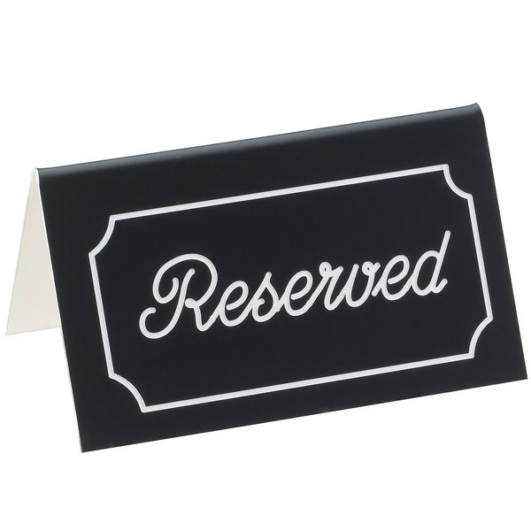 """Cal-Mil 273-2 5"""" x 3"""" Black/White Double-Sided """"Reserved"""" Tent Sign"""