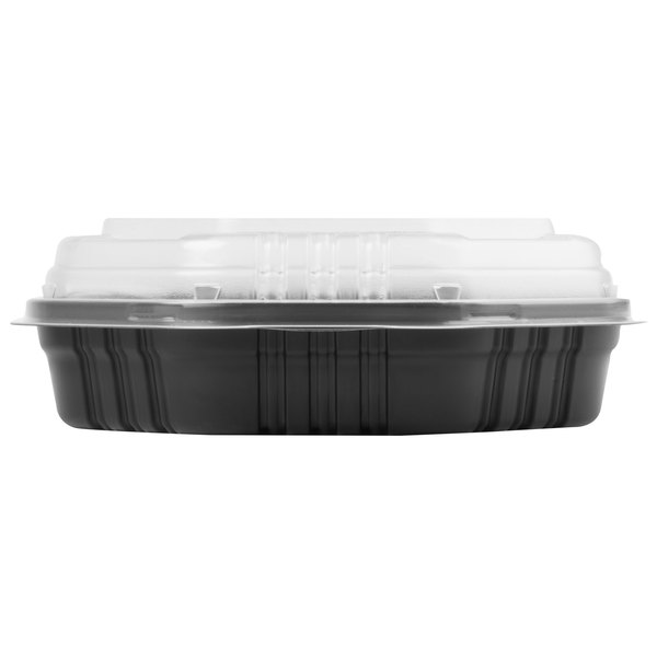 Dart Solo 809011-PP94 Creative Carryouts OctaView Supreme 9 inch x 9 inch x 3 inch Black Microwaveable Plastic Hinged Take-Out Container - 50/Pack