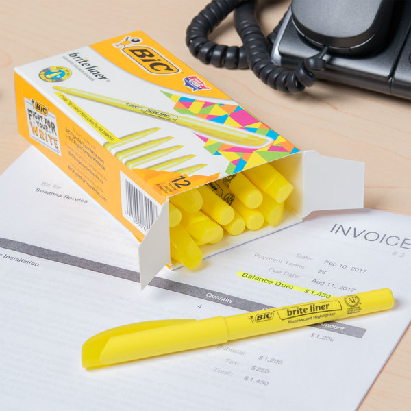 Bic BL11YW Brite Liner Fluorescent Yellow Chisel Tip Pen Style Highlighter - 12/Box