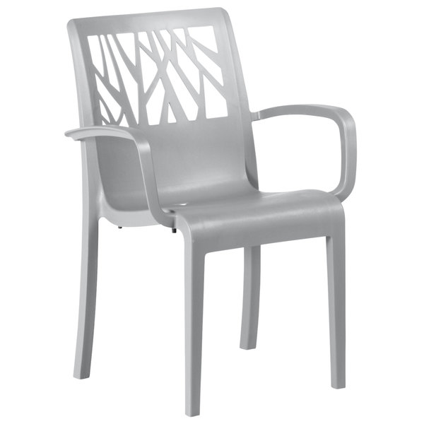 Case of 16 Grosfillex US211195 / US200195 Vegetal Gray Stone Stacking Arm Chair