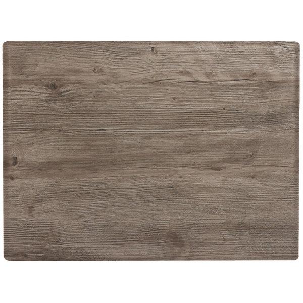 "Grosfillex 99531076 X1 24"" x 32"" Rectangular Aged Oak Outdoor Molded Melamine Table Top"