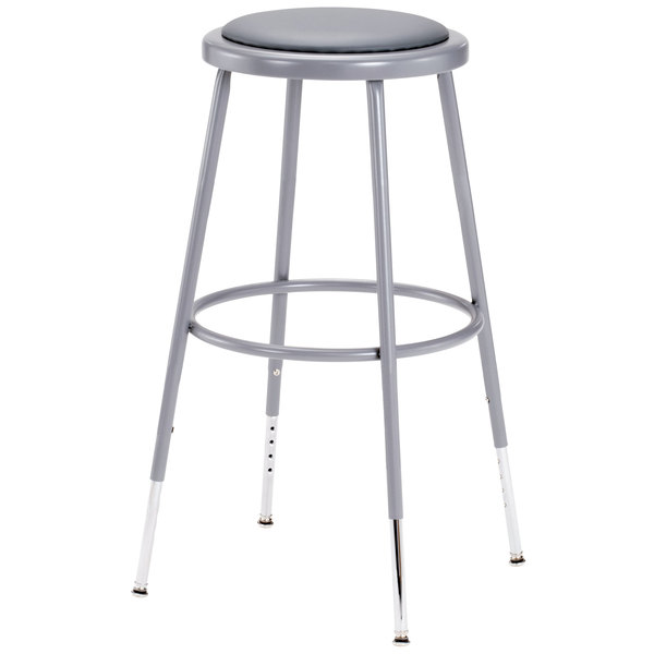 "National Public Seating 6424H 25"" - 33"" Gray Adjustable Round Padded Lab Stool"