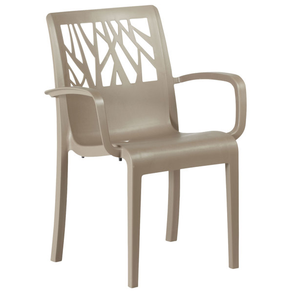 Grosfillex US211181 / US200181 Vegetal Taupe Stacking Arm Chair
