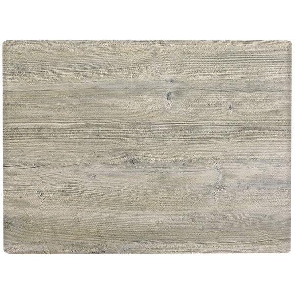 "Grosfillex 99531071 X1 24"" x 32"" Rectangular White Oak Outdoor Molded Melamine Table Top"