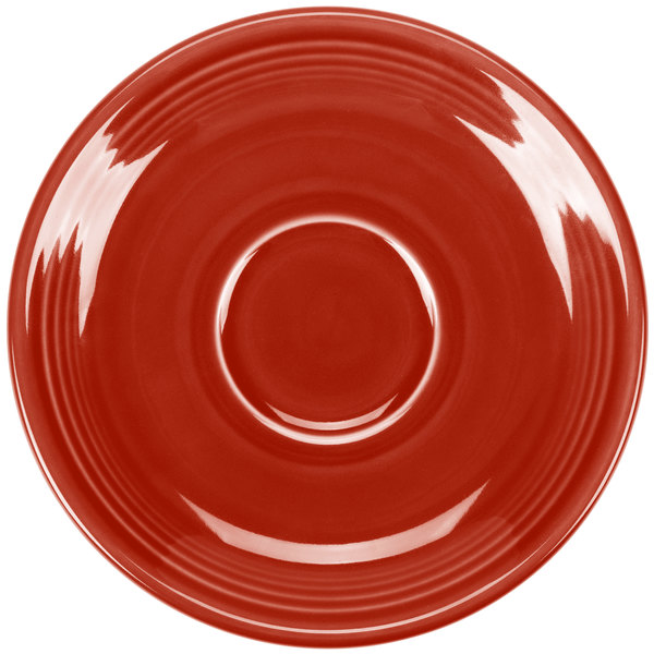 "Homer Laughlin 470326 Fiesta Scarlet 5 7/8"" Saucer - 12/Case"