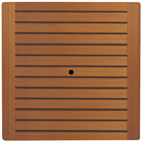 """Grosfillex 99840108 32"""" Square Teak Outdoor Molded Melamine Table Top with Umbrella Hole"""