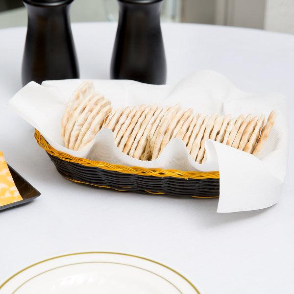 "9"" x 4 1/2"" x 1 3/4"" Oblong Black and Gold Rattan Cracker Basket - 12/Case Main Image 6"
