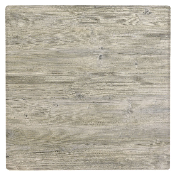 """Grosfillex 99873171 36"""" Square White Oak Outdoor Molded Melamine X1 Table Top"""