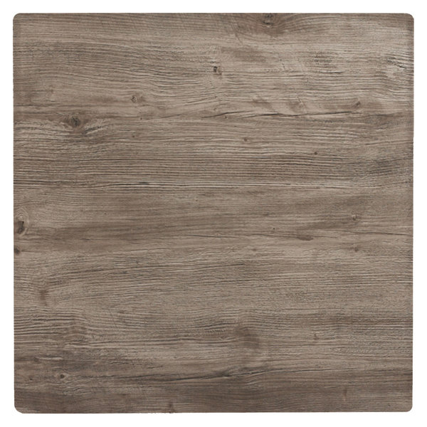 """Grosfillex 99873176 36"""" Square Aged Oak Outdoor Molded Melamine X1 Table Top"""