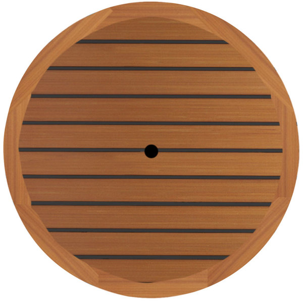 """Grosfillex 99881108 42"""" Round Teak Outdoor Molded Melamine Table Top with Umbrella Hole"""