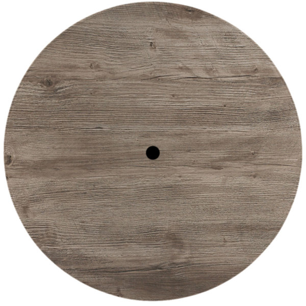 """Grosfillex 99881076 42"""" Round Aged Oak Outdoor Molded Melamine Table Top with Umbrella Hole"""