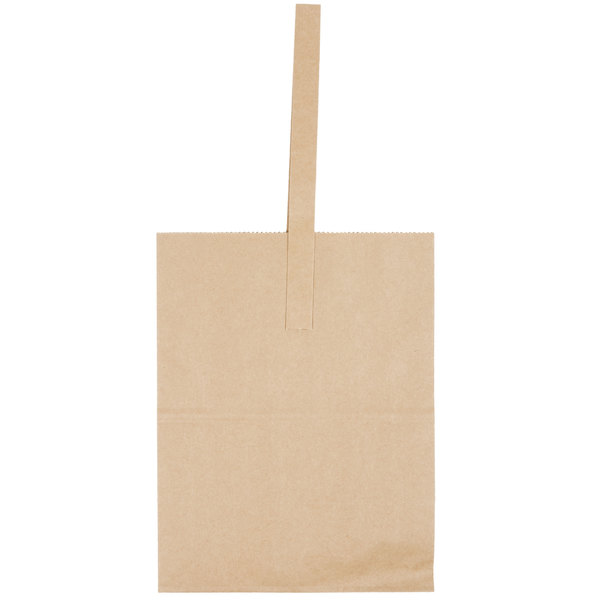 1 Peck Natural Brown Kraft Paper Produce Market Stand Bag With Handle 50 Pack