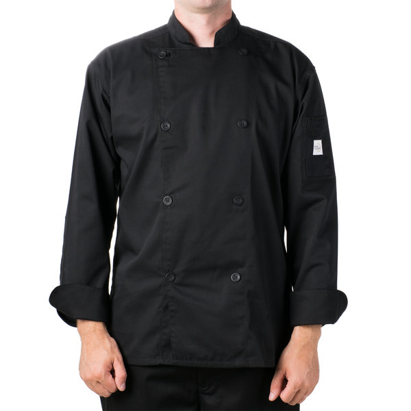 "Mercer Culinary M61010BK6X Genesis Unisex 68"" 6X Customizable Black Double Breasted Traditional Neck Long Sleeve Chef Jacket with Traditional Buttons"
