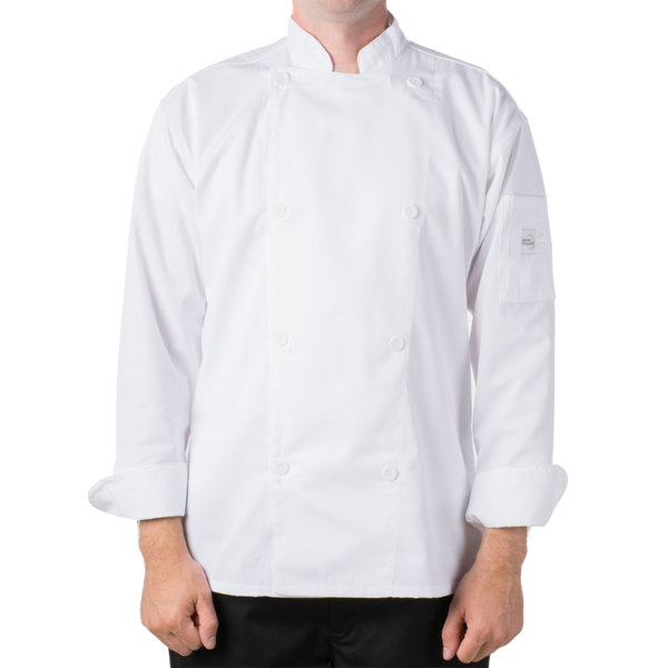 "Mercer Culinary M61010WH4X Genesis Unisex 60"" 4X Customizable White Double Breasted Traditional Neck Long Sleeve Chef Jacket with Traditional Buttons"