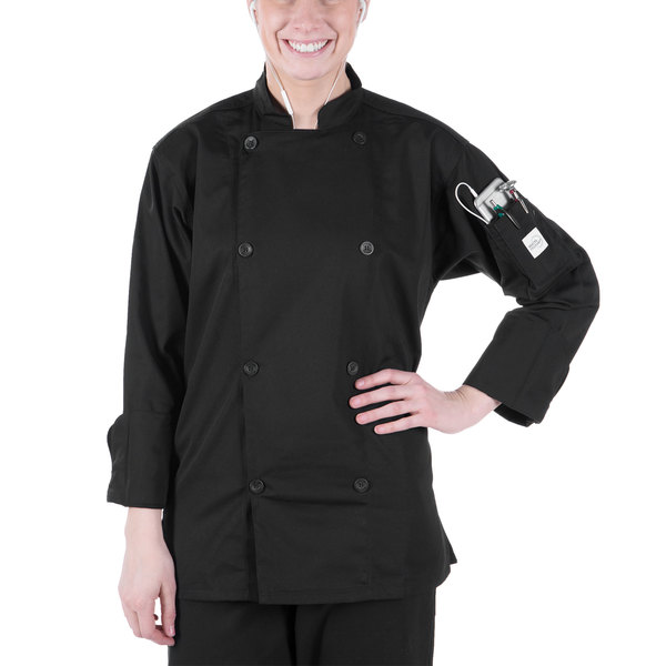 """Mercer Culinary M61010BKS Genesis Unisex 36"""" Small Customizable Black Double Breasted Traditional Neck Long Sleeve Chef Jacket with Traditional Buttons"""