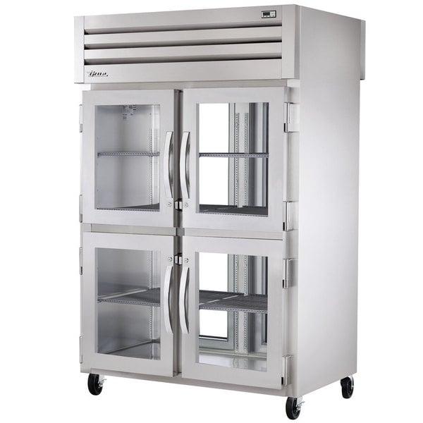 True STA2RPT-4HG-2G-HC Specification Series 52 5/8 inch Half Glass Front, Full Glass Back Pass-Through Refrigerator