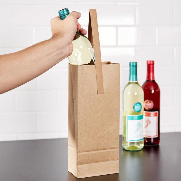 1 Bottle Kraft Paper Wine Bag With Handle 25 Pack