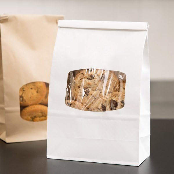 1 lb. White Kraft Paper Cookie / Coffee / Donut Bag with Window and Tin Tie Closure - 50/Pack