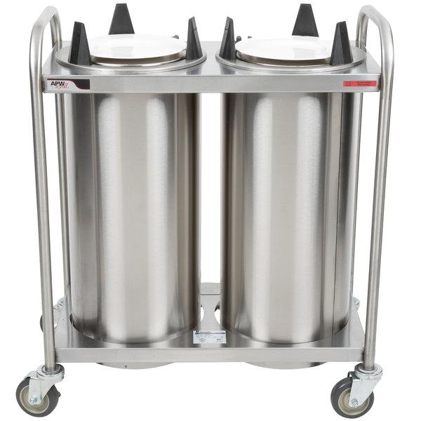 "APW Wyott HTL2-10 Trendline Mobile Heated Two Tube Dish Dispenser for 9 1/4"" to 10 1/8"" Dishes - 120V"