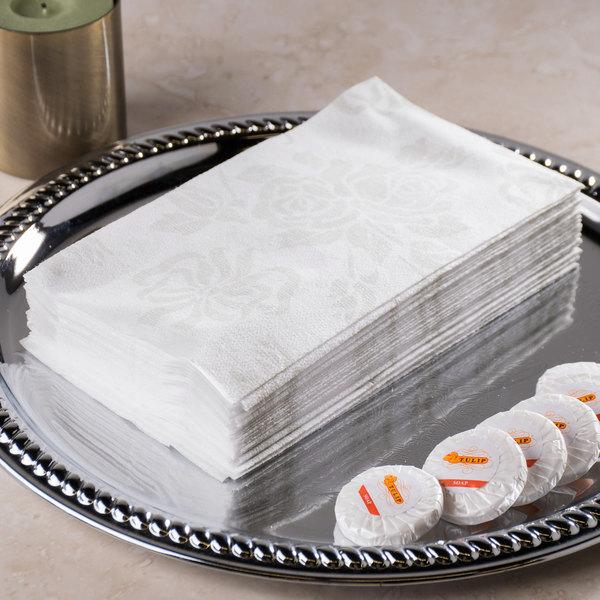 """Hoffmaster 856513 Linen-Like 12"""" x 17"""" Silver Prestige 1/6 Fold Guest Towel - 500/Case"""