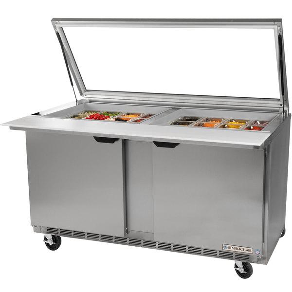 """Beverage-Air SPE72HC-30M-STL Elite Series 72"""" 3 Door Mega Top Glass Lid Refrigerated Sandwich Prep Table"""