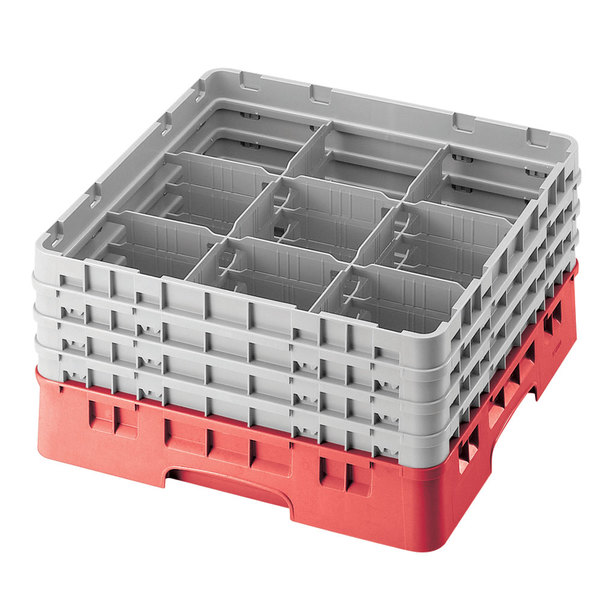"""Cambro 9S1114163 Red Camrack Customizable 9 Compartment 11 3/4"""" Glass Rack"""