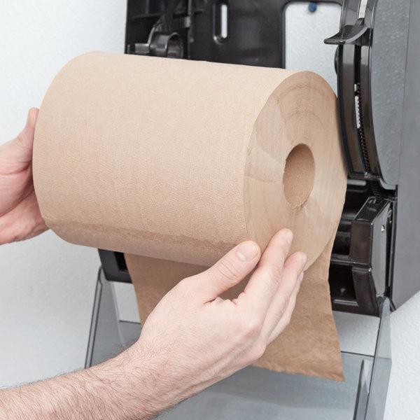 "Lavex Janitorial 8"" Natural Kraft Hardwound Paper Towel, 800 Feet / Roll - 6/Case Main Image 3"