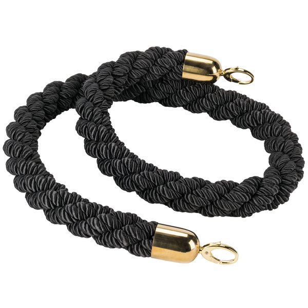American Metalcraft RSCLRPGOBL 5' Braided Black Barrier System Rope with Gold Ends Main Image 1