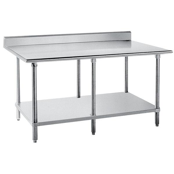 "Advance Tabco KLG-2412 24"" x 144"" 14 Gauge Work Table with Galvanized Undershelf and 5"" Backsplash"