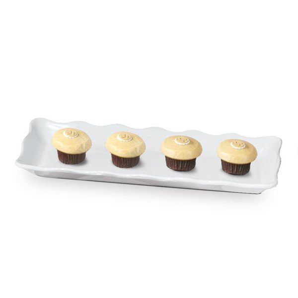 "GET ML-128-W Bake and Brew 13 1/2"" x 5 1/4"" White Melamine Rectangular Display Tray - 12/Pack"