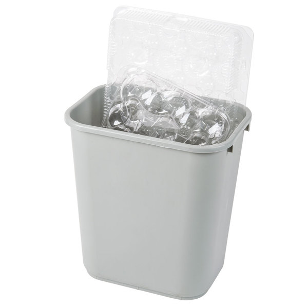 Continental 2818GY 28 Qt. / 7 Gallon Gray Rectangular Wastebasket / Trash Can