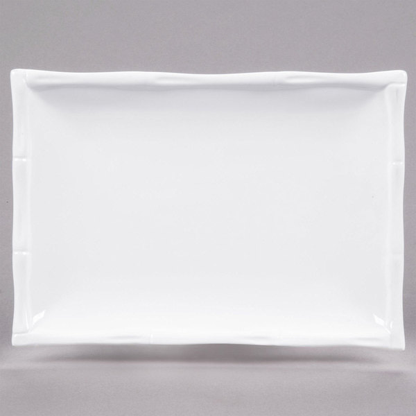 "CAC BAP-51 Bamboo Pattern 15 1/2"" x 11"" Bright White Rectangular Porcelain Platter - 12/Case"