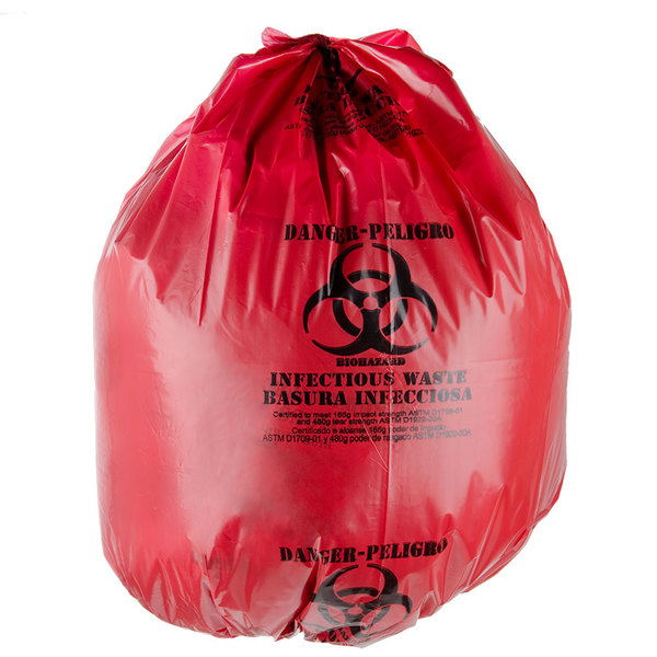 """44 Gallon 37"""" x 50"""" Red Isolation Infectious Waste Bag / Biohazard Bag Linear Low Density 3.0 Mil - 25/Case Main Image 2"""