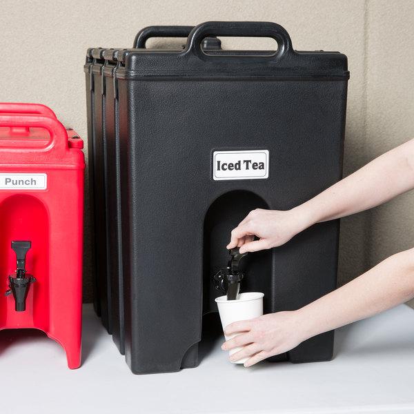 Cambro 1000LCD110 Camtainer 11.75 Gallon Black Insulated Beverage Dispenser