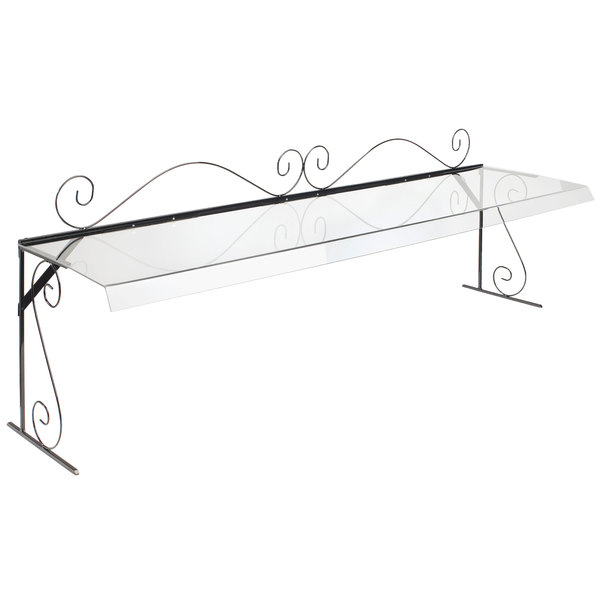 """Cal-Mil 7106 72"""" Aqua Portable Acrylic Sneeze Guard with Black Iron Wire Frame"""