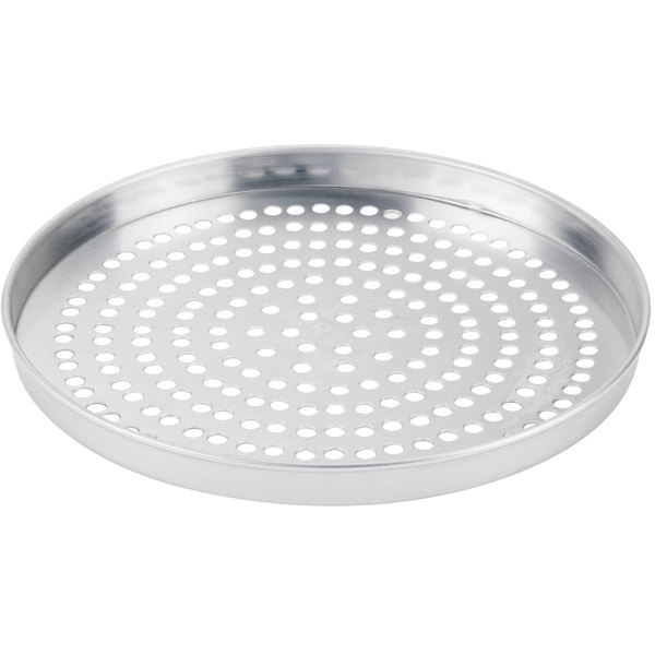 """American Metalcraft SPA4010 10"""" x 1"""" Super Perforated Standard Weight Aluminum Straight Sided Pizza Pan"""
