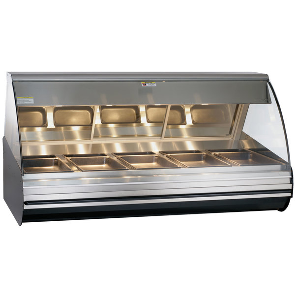 """Alto-Shaam HN2-72/PL S/S Stainless Steel Countertop Heated Display Case with Curved Glass - Left Self Service 72"""""""
