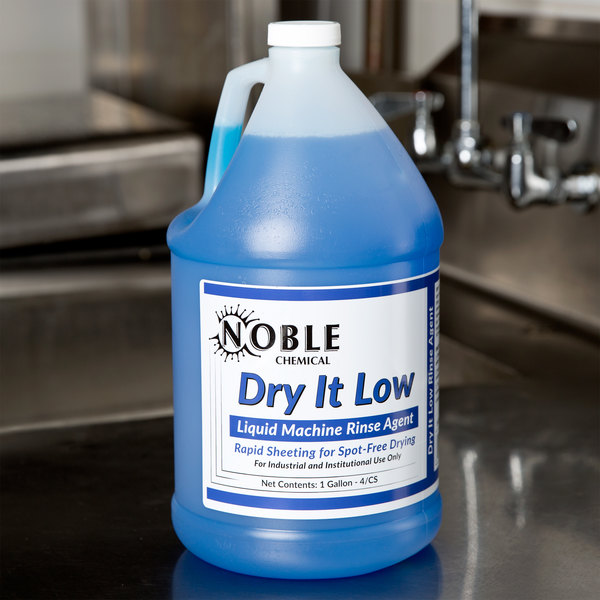Noble Chemical Dry It 1 Gallon / 128 oz. Low Rinse Aid gallon / Drying Agent for Low Temperature Dish Machines