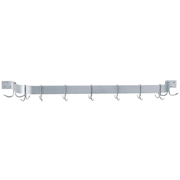 """Advance Tabco SW1-72-EC 72"""" Stainless Steel Wall Mounted Single Line Pot Rack with 9 Double Prong Hooks"""