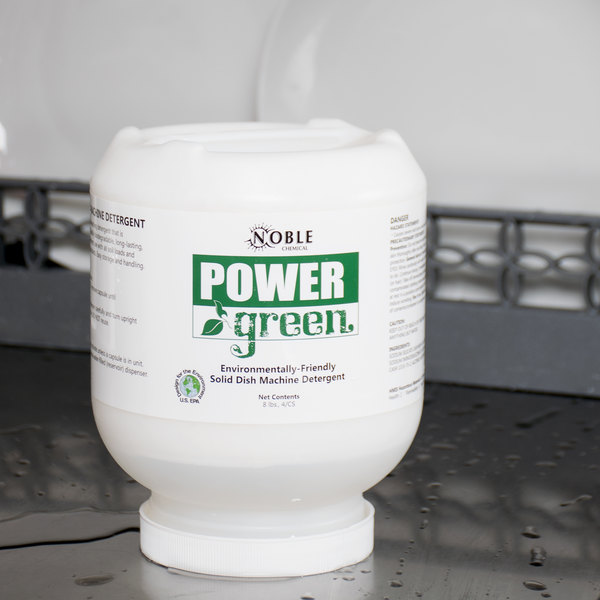 Noble Chemical 8 lb. / 128 oz. Power Green Heavy Duty Solid Machine Dish Detergent - 4/Case