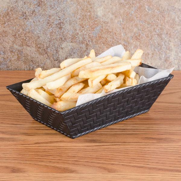 """GET RB-893 8"""" x 4 1/2"""" Black Rectangular Plastic Fast Food Basket - 12/Pack"""