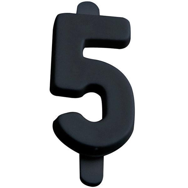 "3/4"" Black Molded Plastic Number 5 Deli Tag Insert - 50/Set"